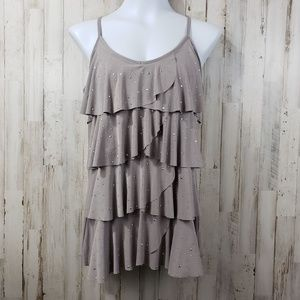 INC International Concepts Womens Top Gray Studded